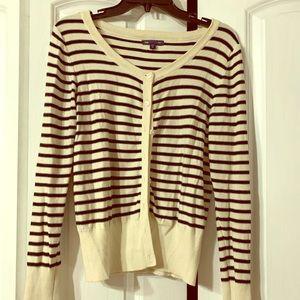Cream & Black Striped Cardigan